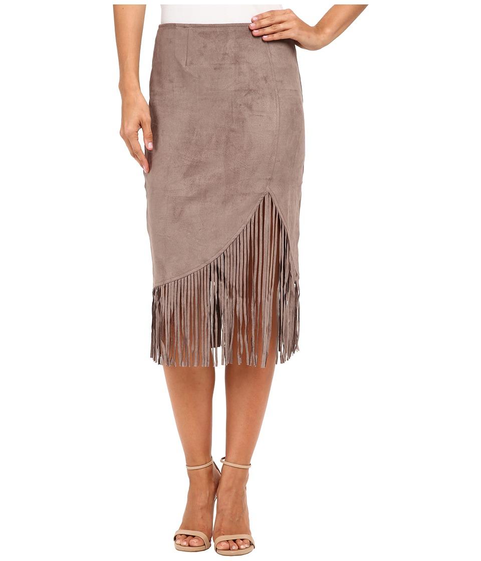 Brigitte Bailey - Adaline Micro Suede Fringe Midi Skirt (Taupe) Women's Skirt