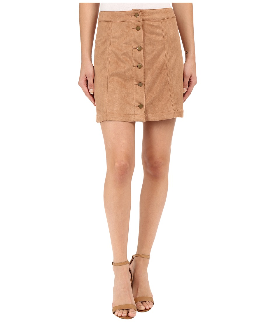 Brigitte Bailey - Addy Micro Suede Button Up Skirt (Camel) Women's Skirt