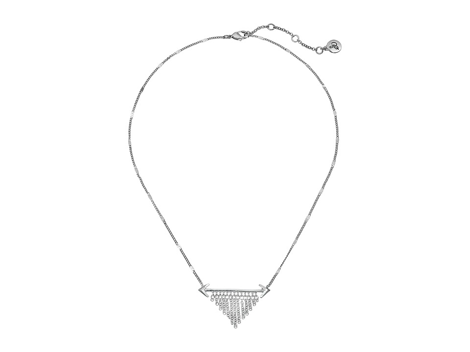 Sam Edelman - Double Arrow Fringe Necklace 16 (Rhodium) Necklace