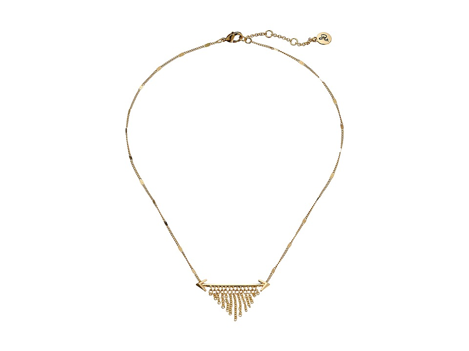 Sam Edelman - Double Arrow Fringe Necklace 16 (Gold) Necklace