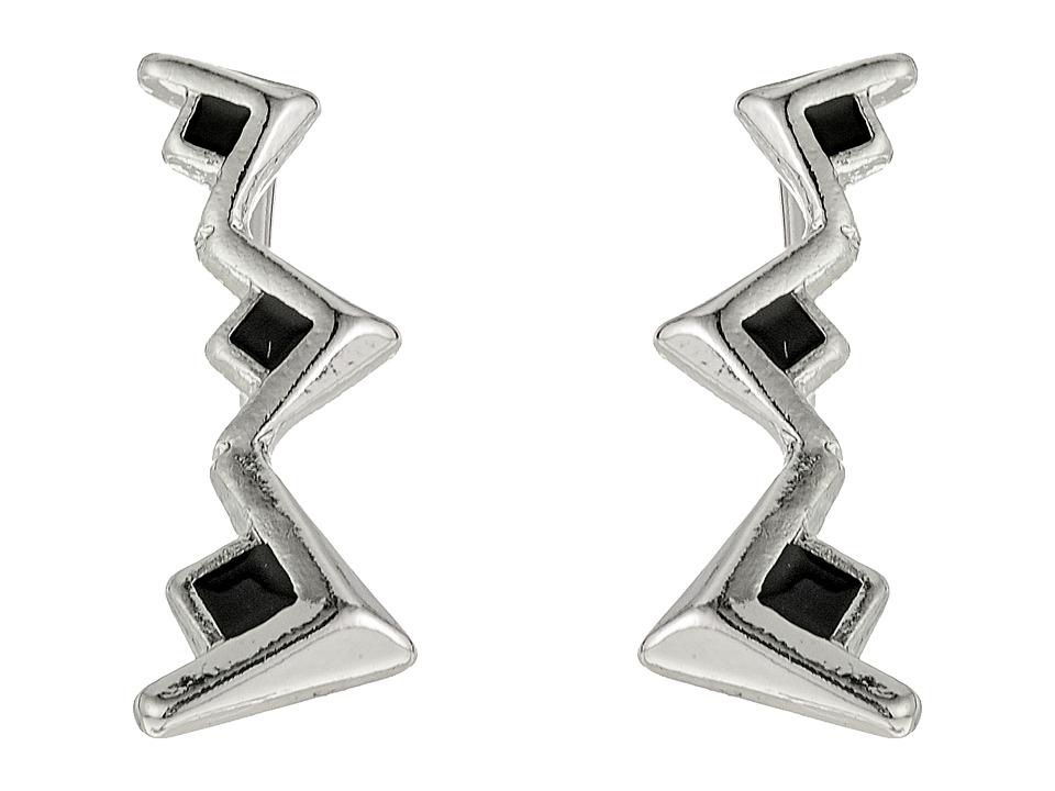 Sam Edelman - V Enamel Crawler Earrings (Black/Rhodium) Earring