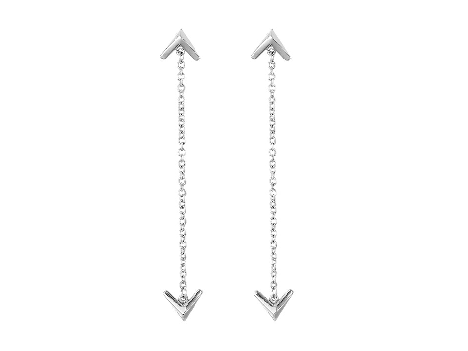 Sam Edelman - Double V Chain Drop Earrings (Rhodium) Earring