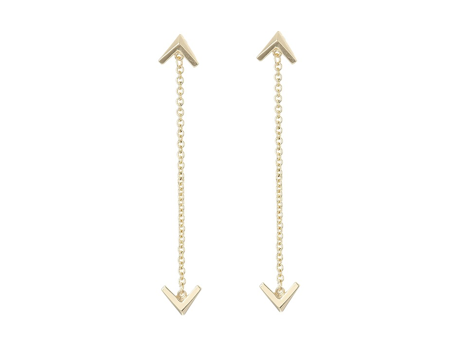 Sam Edelman - Double V Chain Drop Earrings (Gold) Earring