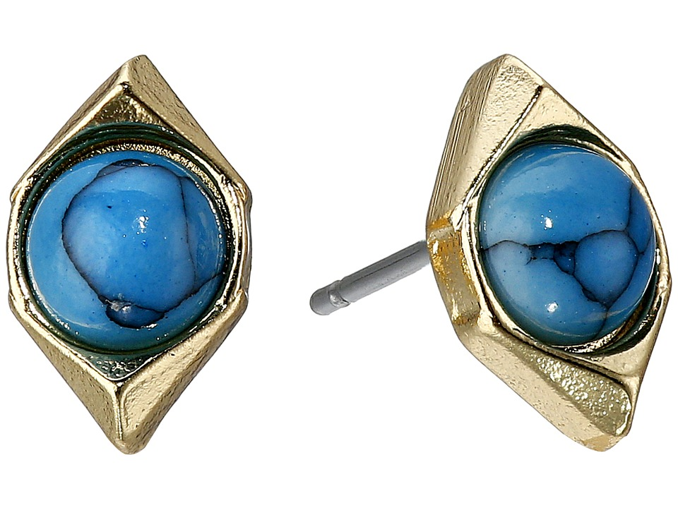 Sam Edelman - Double V Stone Stud Earrings (Turquoise) Earring