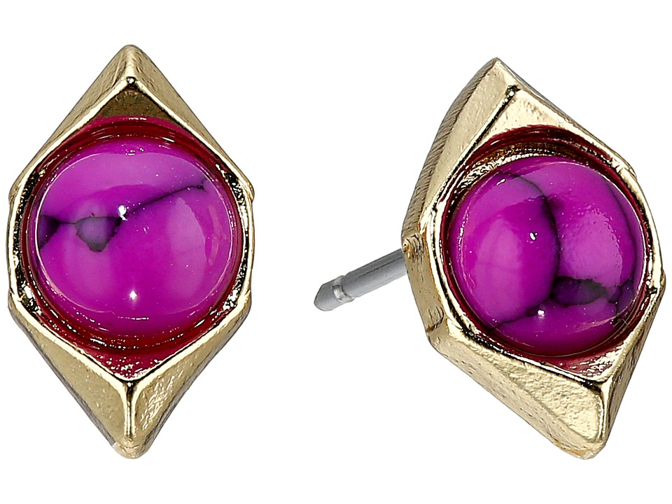 Sam Edelman - Double V Stone Stud Earrings (Fuchsia) Earring
