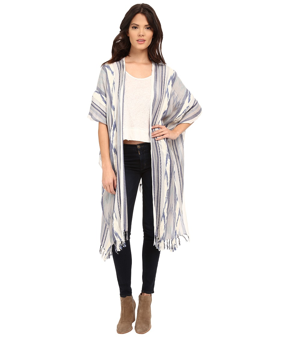 Steve Madden - Ikat Yarn Dye Bohemian Topper (Denim) Women's Blouse
