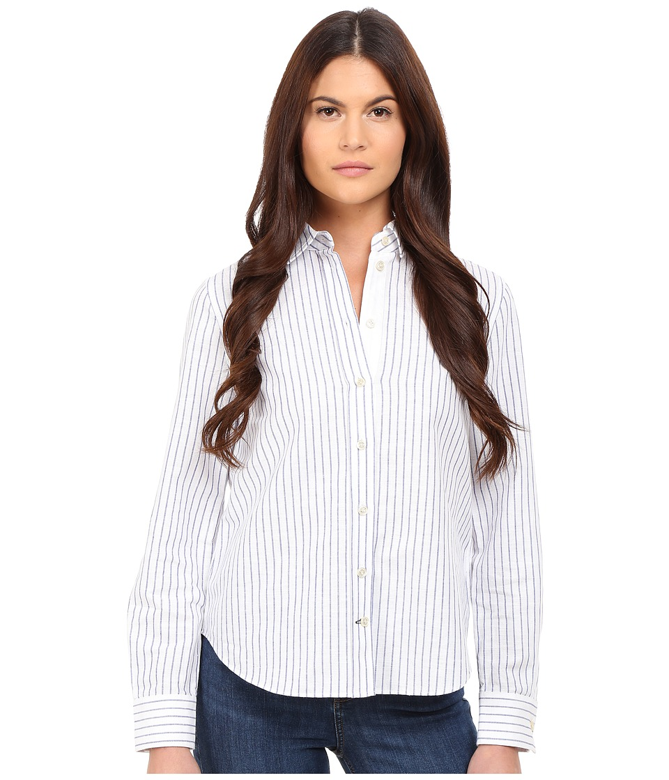 Kate Spade New York - Linen Stripe Shirt (Fresh White) Women's Clothing