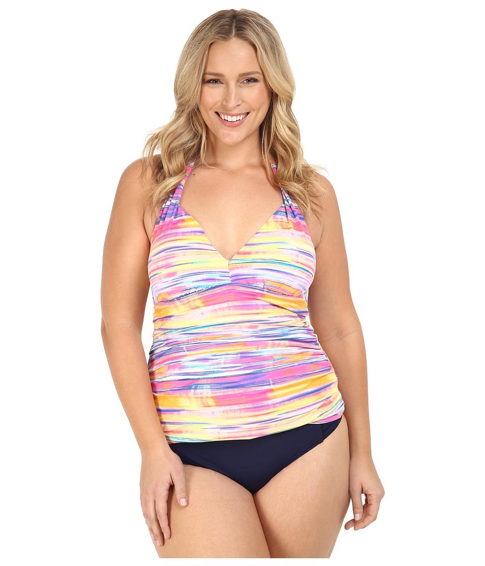 LAUREN Ralph Lauren Plus Size Summer Tie-Dye Stripe Halterkini w &  Removable Cups Slimming Fit Multi Swimwear