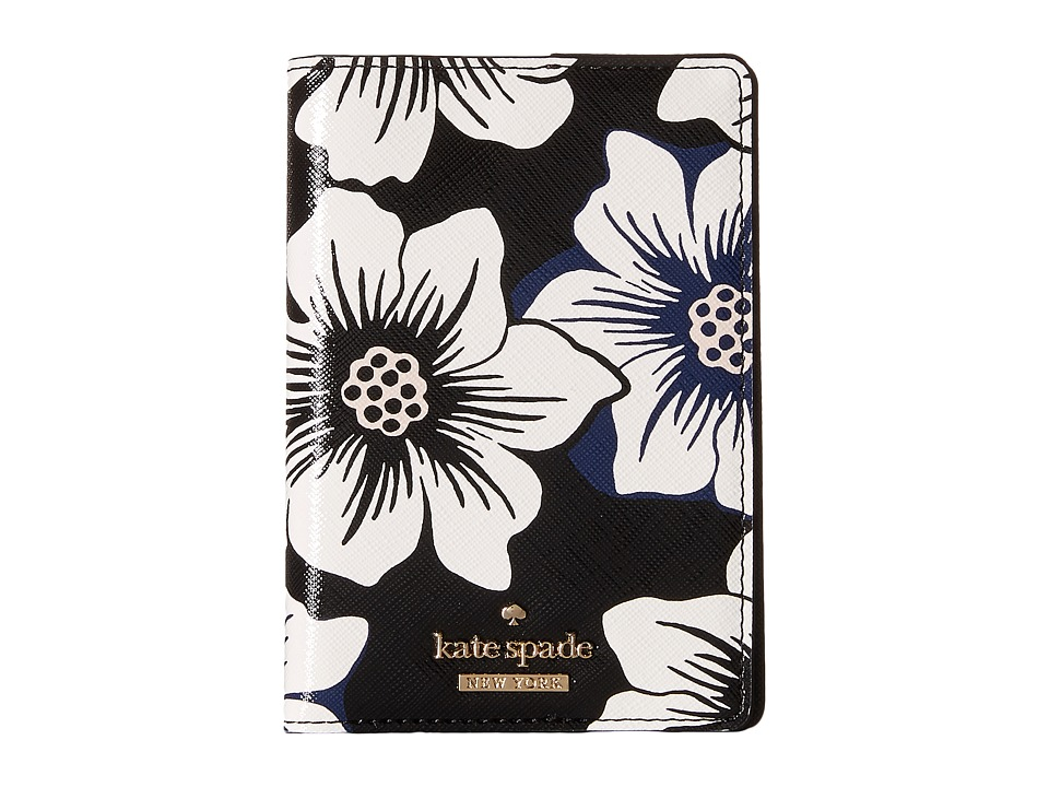 Kate Spade New York - Cedar Street Floral Passport Holder (Black Multi) Wallet