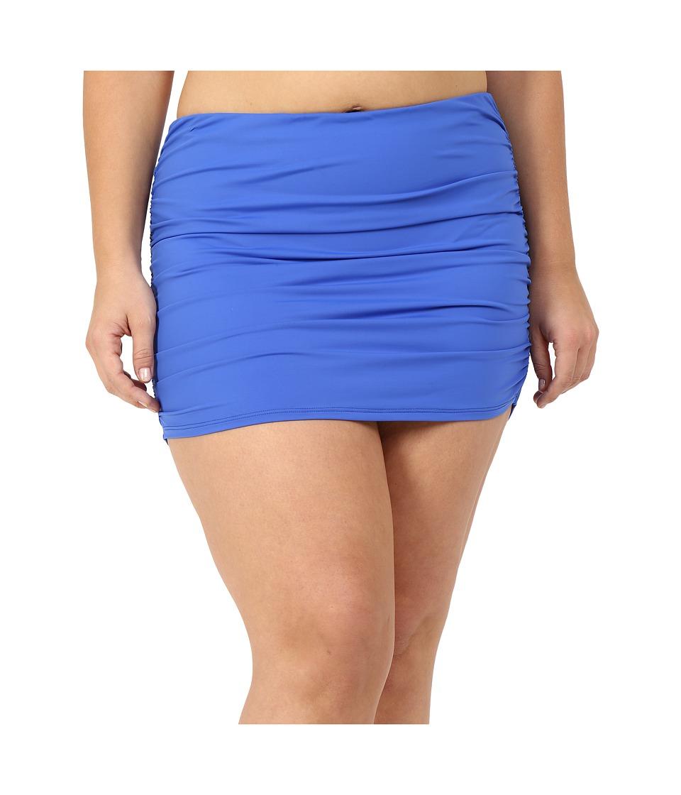 LAUREN Ralph Lauren Plus Size Beach Club Solids Ultra High Waisted Skirted (Periwinkle) Women