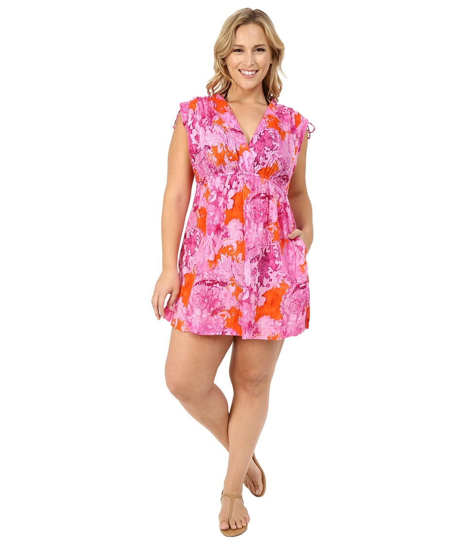 LAUREN Ralph Lauren - Plus Size Oceania Floral Farrah Dress 100% Crushed Cotton Cover-Up (Pink Multi) Women's Swimwear plus size,  plus size fashion plus size appare