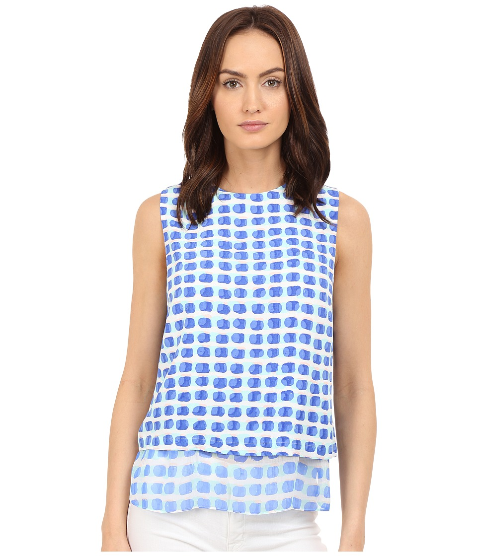 Kate Spade New York - Island Stamp Double Layer Tank Top (Adventure Blue Multi) Women's Sleeveless