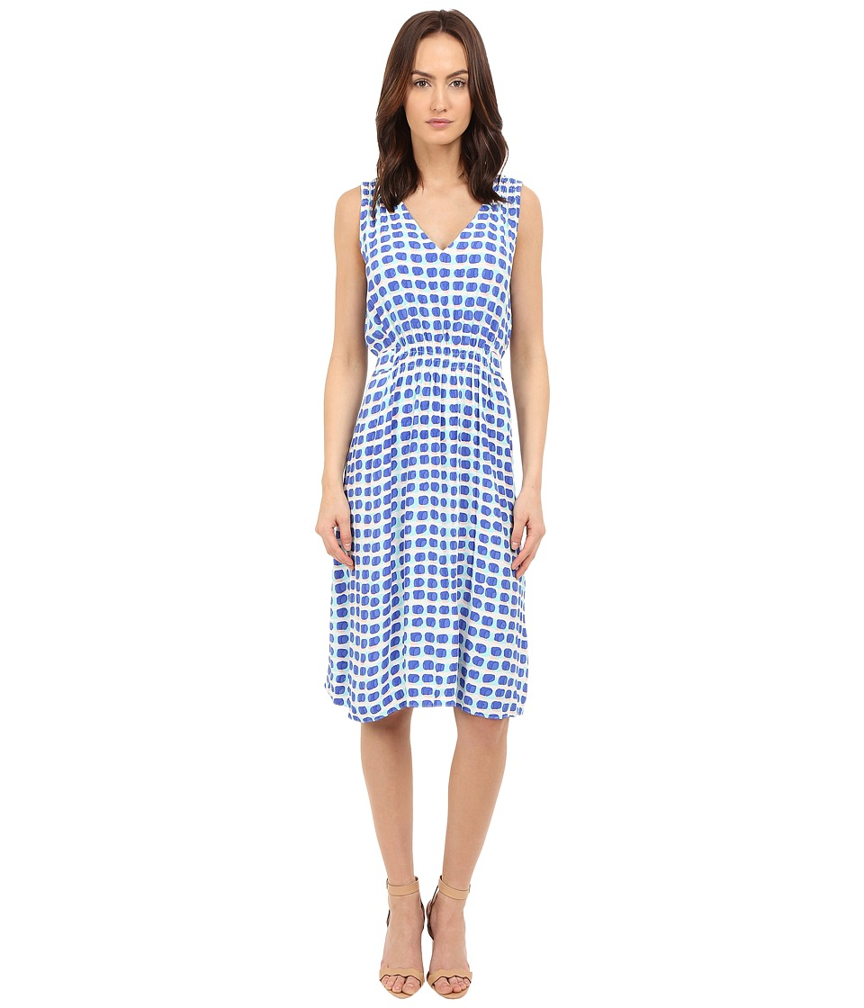 Kate Spade New York - Island Stamp Tie Back Dress (Adventure Blue Multi) Women's Dress