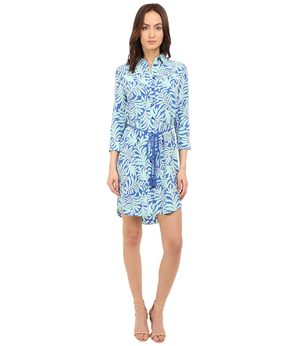 Kate Spade New York - Sea Ferns Shirtdress (Adventure Blue) Women's Dress