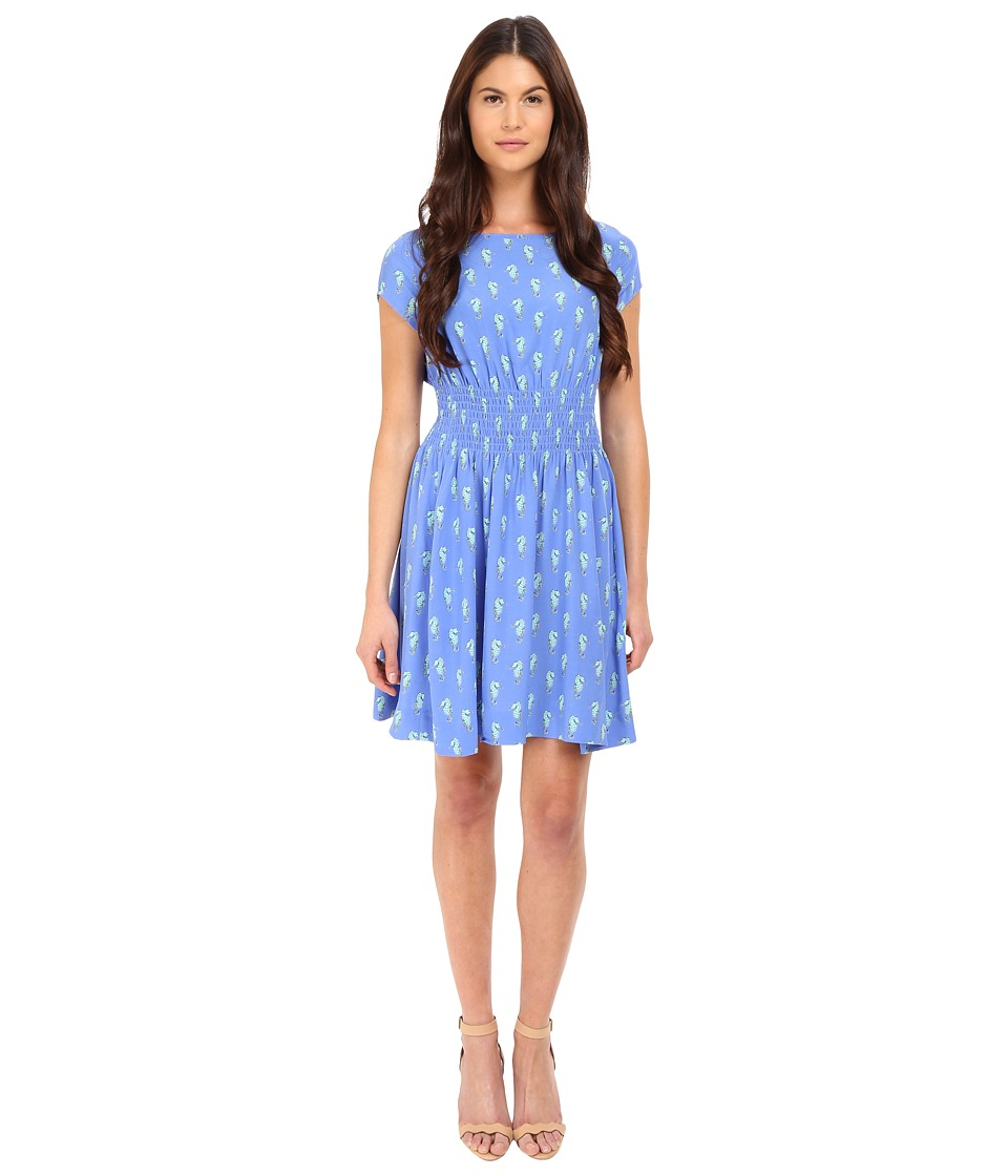 Kate Spade New York - Seahorses Cap Sleeve Dress (Adventure Blue) Women's Dress
