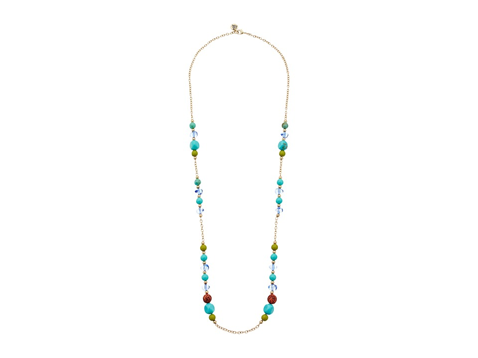 The Sak - Beaded Station Necklace 32 (Blue) Necklace