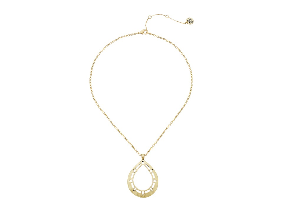 The Sak - Pierced Teardrop Pendant Necklace 18 (Gold) Necklace