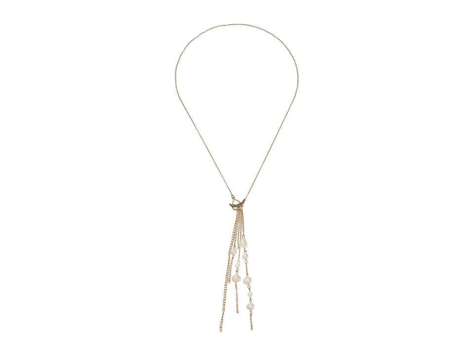 The Sak - Beaded Tassel Y-Neck Necklace 18 (White) Necklace