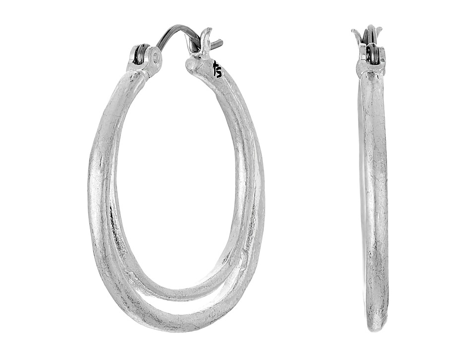 The Sak - Metal Split Hoop Earrings (Silver) Earring