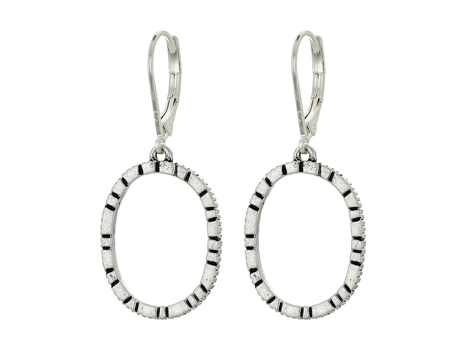 The Sak - Etched Oval Hoop Drop Earrings (Silver) Earring