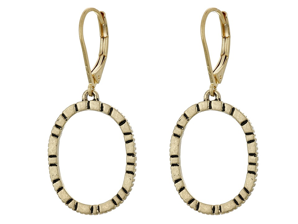 The Sak - Etched Oval Hoop Drop Earrings (Gold) Earring