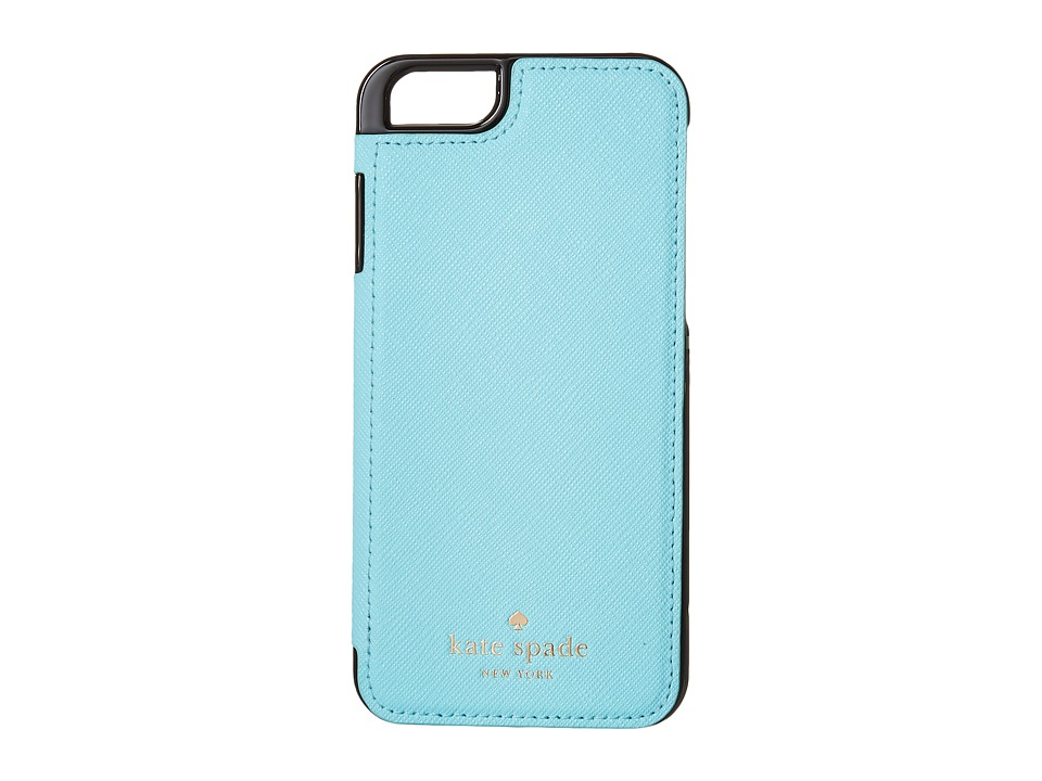 Kate Spade New York - Cedar Street Leather Folio iPhone Pocket (Atoll Blue) Cell Phone Case