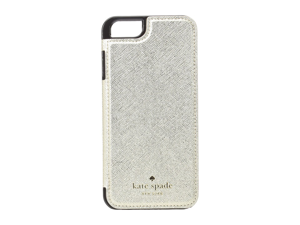 Kate Spade New York - Cedar Street Leather Folio iPhone Pocket (Gold) Cell Phone Case