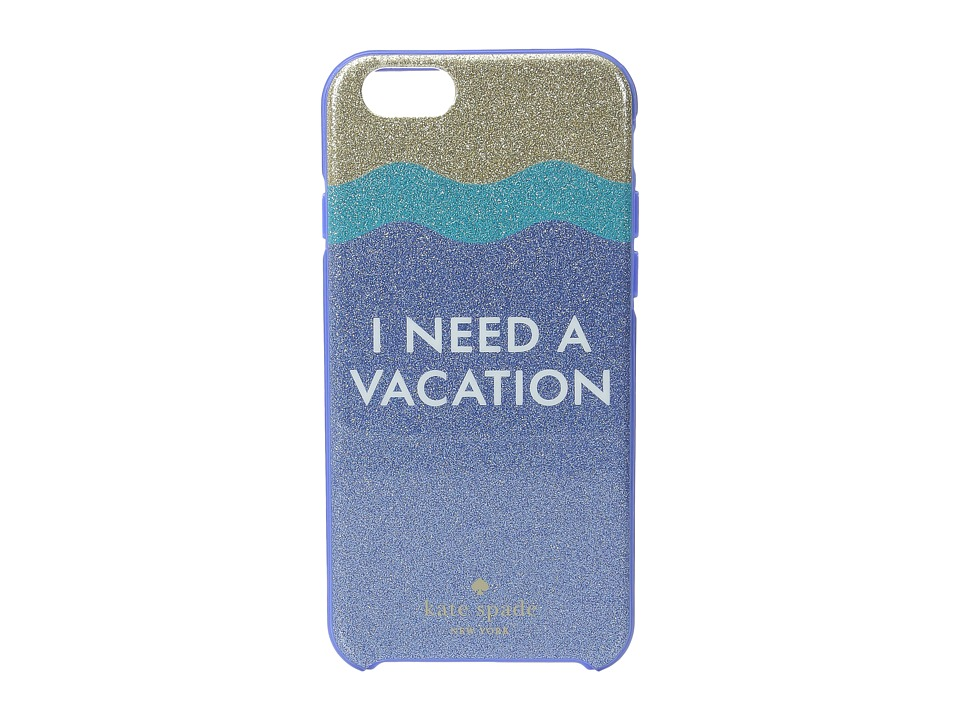 Kate Spade New York - I Need a Vacation Glitter iPhone Case for iPhone 6 (Blue Multi) Cell Phone Case