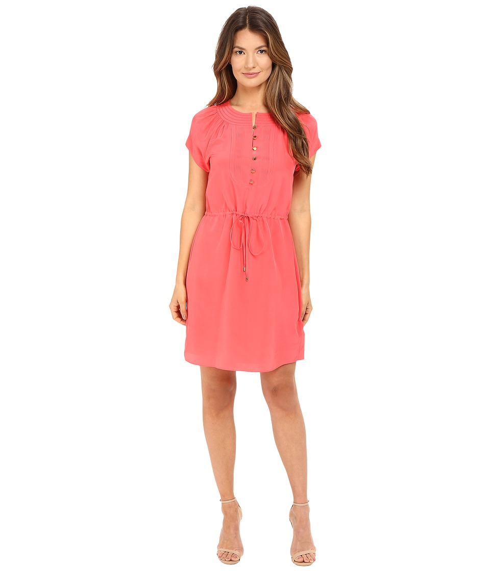 Kate Spade New York - Pintuck Silk Dress (Watermelon) Women's Dress