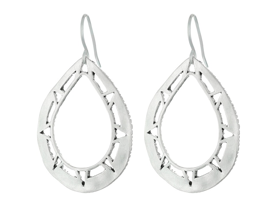 The Sak - Pierced Metal Hoop Drop Earrings (Silver) Earring