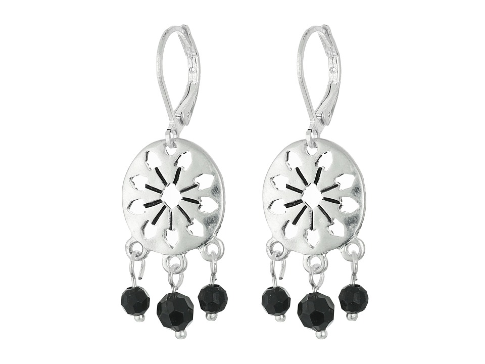 The Sak - 3 Bead Disc Drop Earrings (Black/Silver) Earring