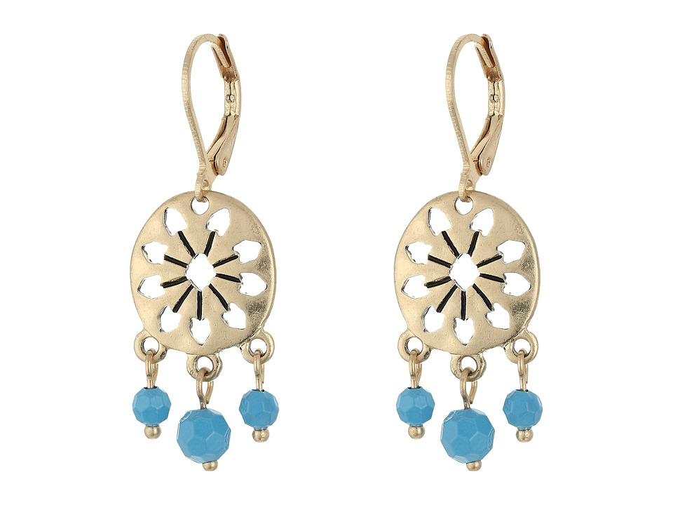 The Sak - 3 Bead Disc Drop Earrings (Blue) Earring