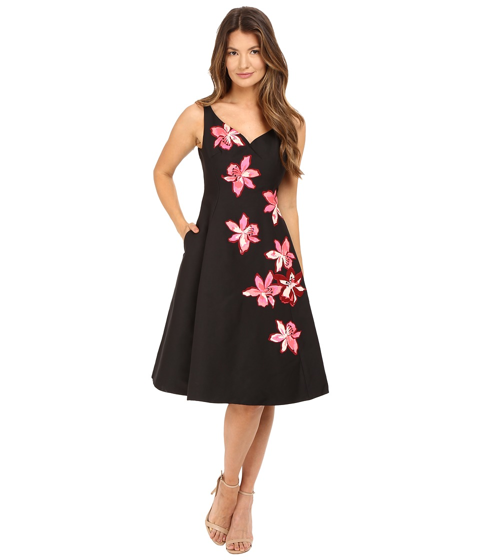 Kate Spade New York - Tiger Lily Applique Dress (Black) Women's Dress