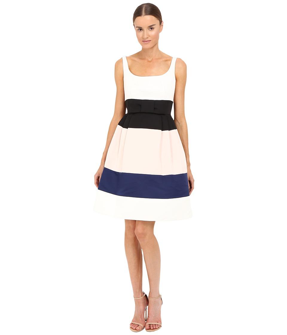 Kate Spade New York - Color Block Satin Faille Dress (Cream Multi) Women's Dress