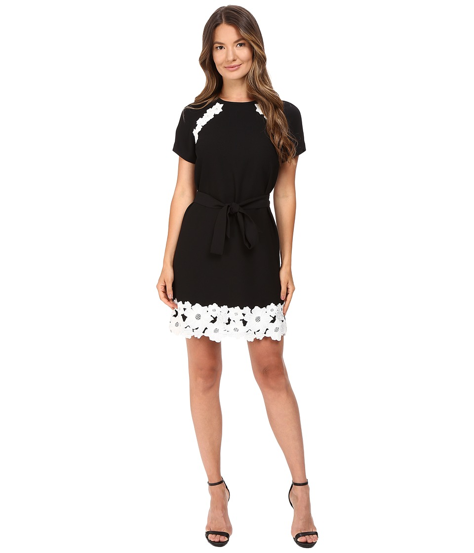 Kate Spade New York - Lace Trim Satin Crepe Dress (Black) Women's Dress