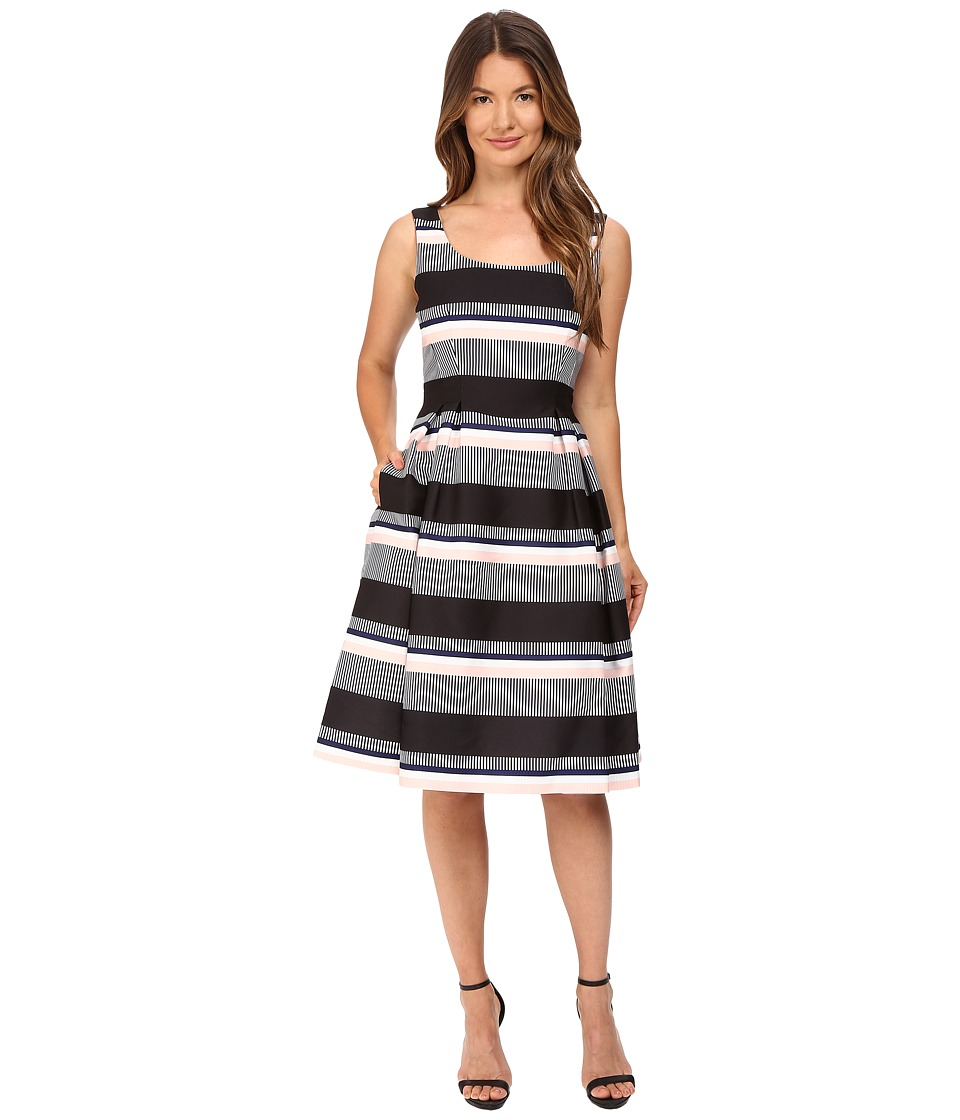 Kate Spade New York Bay Stripe Fit and Flare Dress (Black) Women
