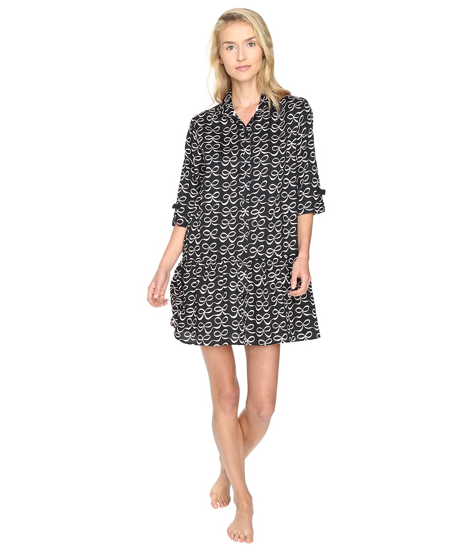 Kate Spade New York - Sateen Sleepshirt (Elegant Bow Black) Women's Pajama