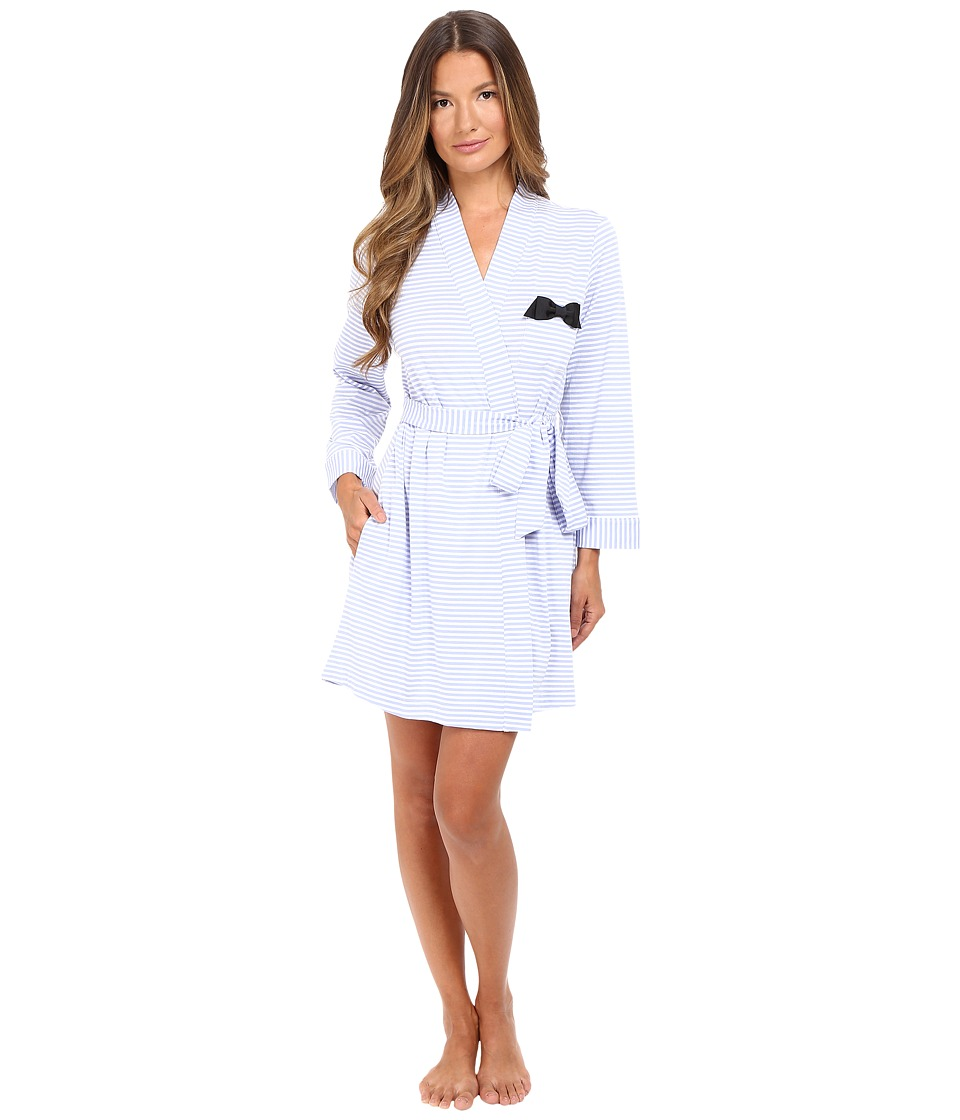 Kate Spade New York - Jersey Robe (Classic Stripe Pale Aster) Women's Robe