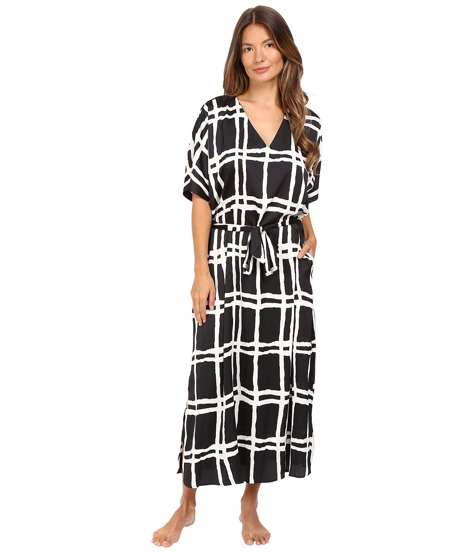 Kate Spade New York - Charmeuse Caftan (Painterly Forest Plaid) Women's Robe