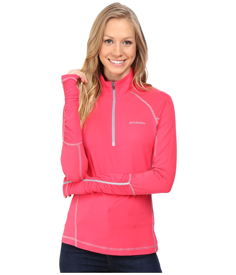 Columbia - Trail Flash 1/2 Zip Shirt (Punch Pink/Tradewinds Grey) Women's Long Sleeve Pullover