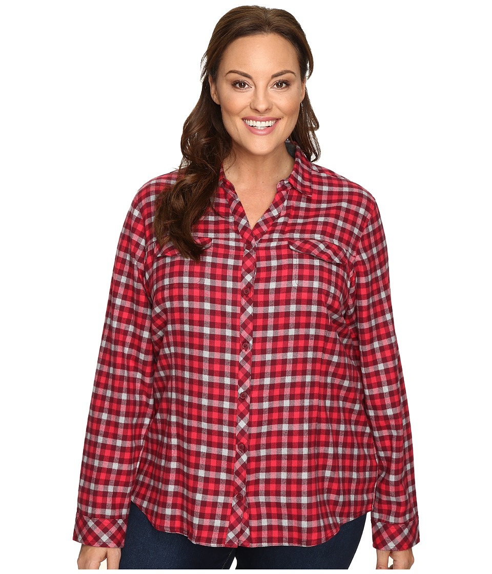 Columbia - Plus Size Simply Put II Flannel Shirt (Chianti Check) Women's Long Sleeve Button Up