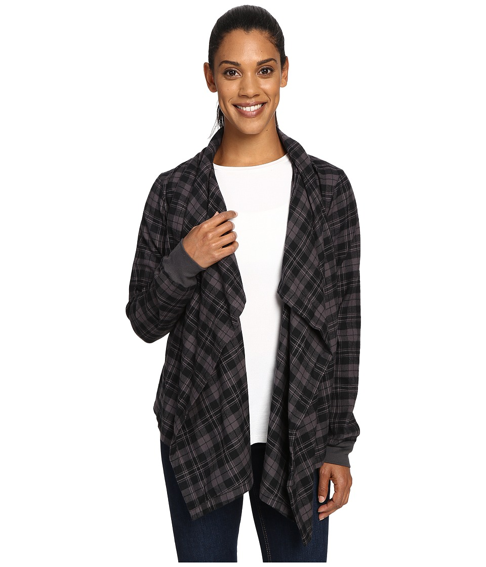Columbia - Simply Put Flannel Wrap (Black Plaid) Women's Sweater