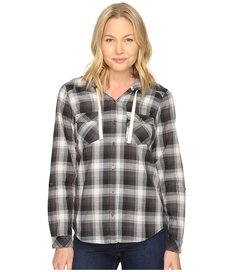 Columbia - Times Two Hooded Long Sleeve Shirt (Black Plaid) Women's Long Sleeve Button Up