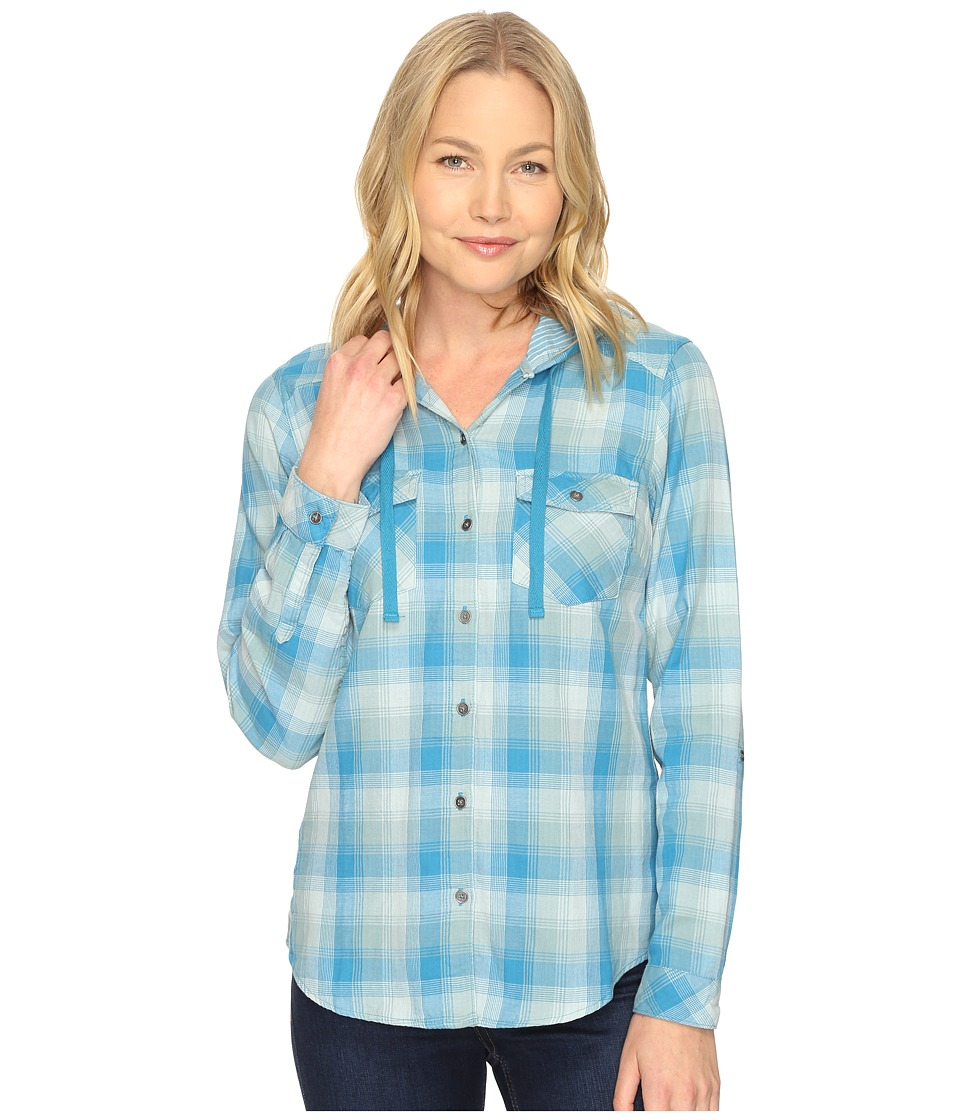 Columbia - Times Two Hooded Long Sleeve Shirt (Deep Marine Plaid) Women's Long Sleeve Button Up