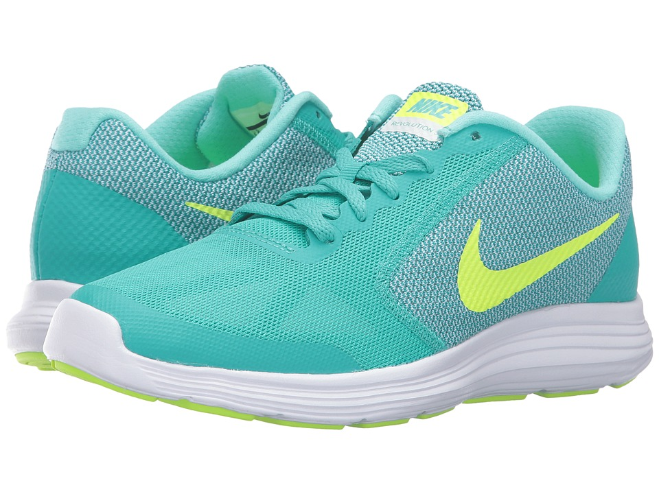 Nike Kids - Revolution 3 (Big Kid) (Clear Jade/Hyper Turquoise/White/Volt) Girls Shoes
