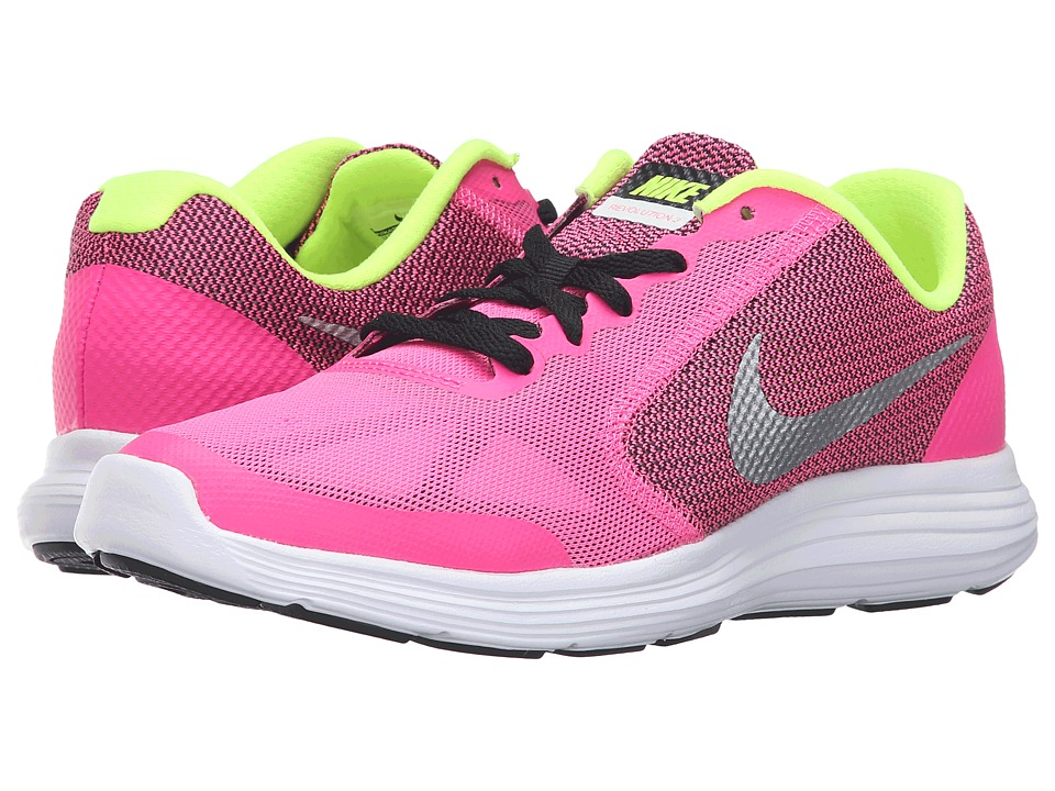 Nike Kids - Revolution 3 (Big Kid) (Pink Blast/Black/White/Metallic Silver) Girls Shoes