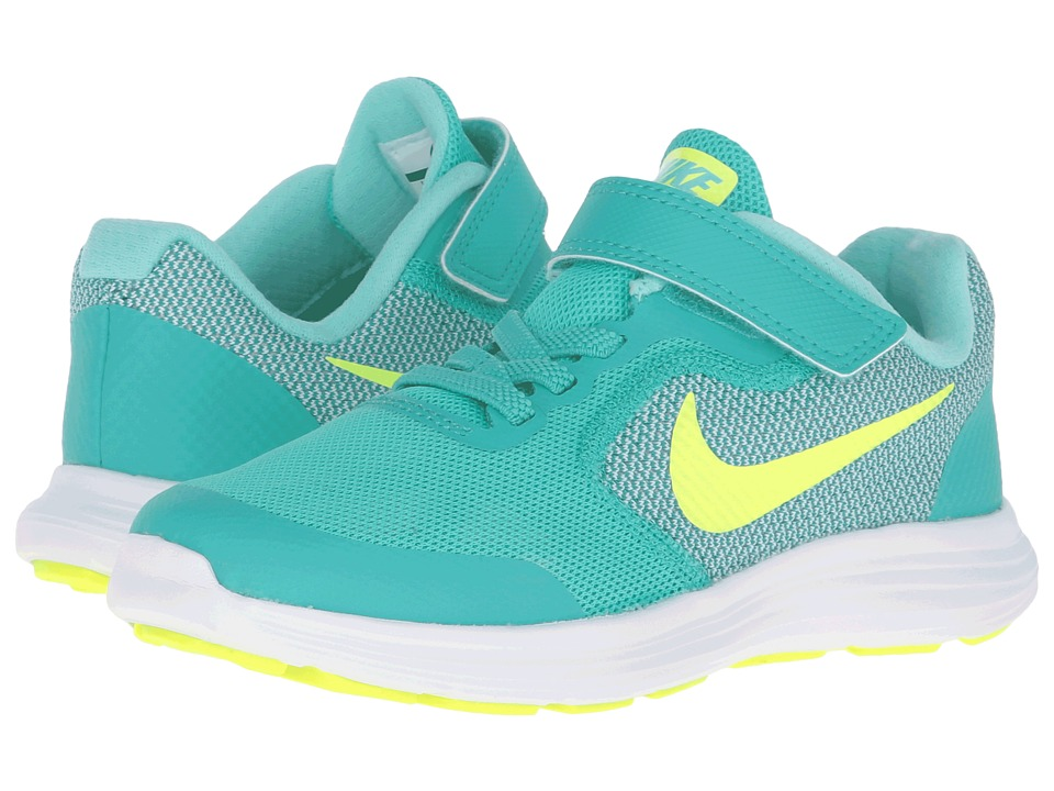 Nike Kids - Revolution 3 (Little Kid) (Clear Jade/Hyper Turquoise/White/Volt) Girls Shoes