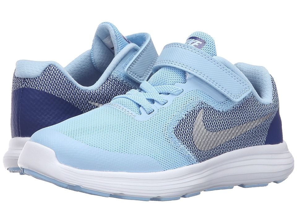 Nike Kids - Revolution 3 (Little Kid) (Bluecap/Deep Royal Blue/White/Metallic Silver) Girls Shoes