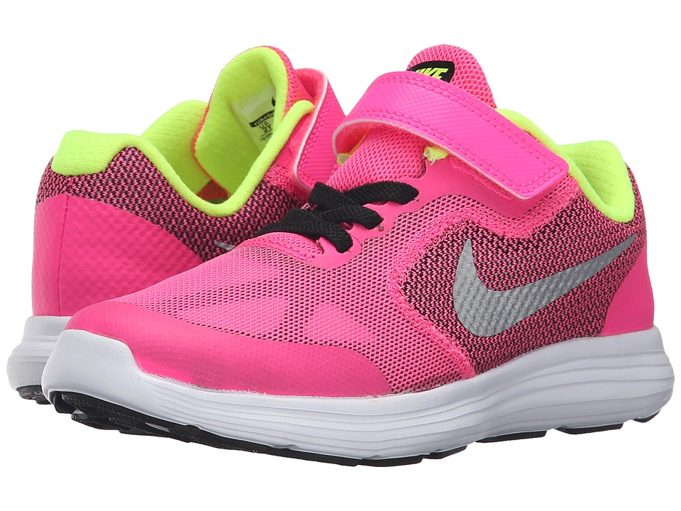Nike Kids - Revolution 3 (Little Kid) (Pink Blast/Black/White/Metallic Silver) Girls Shoes