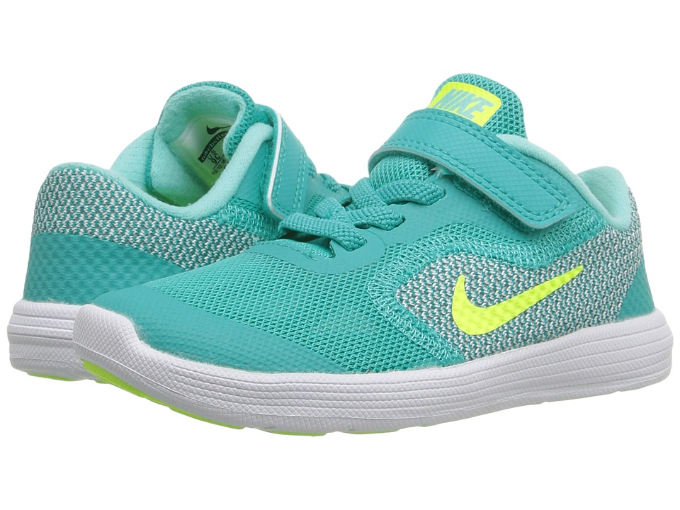 Nike Kids - Revolution 3 (Infant/Toddler) (Clear Jade/Hyper Turquoise/White/Volt) Girls Shoes